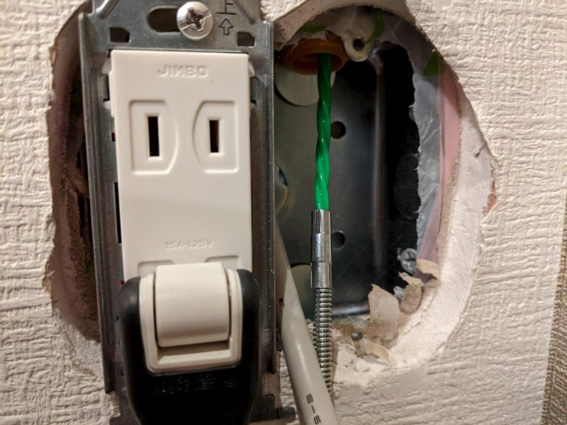 LAN配線DIY 通線ワイヤー 出口